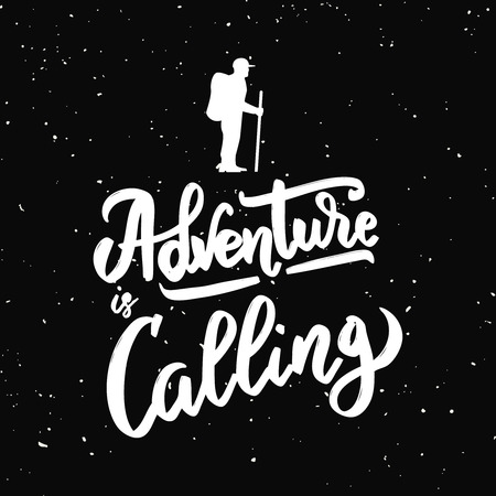 Adventure is calling quote in Hand drawn calligraphic lettering isolated on black background. Design element for poster, greeting card Vector illustration Ilustrace