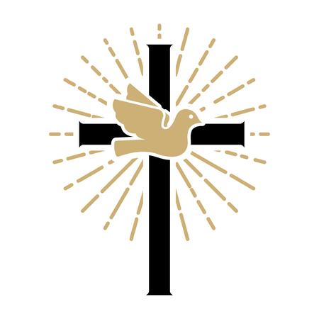 Pigeon over a cross. Religious sign. Design elements for logo, label, emblem ,sign. Vector illustration Vettoriali