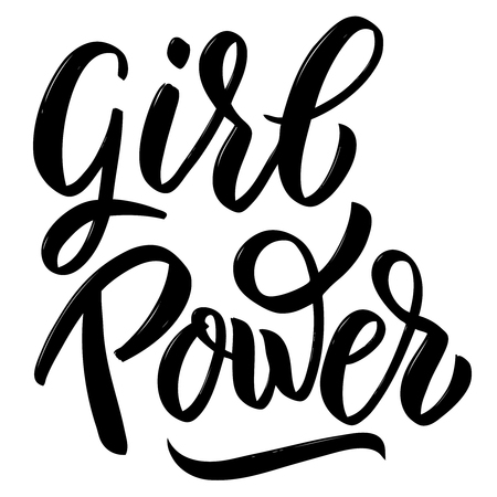 Girl power. Hand drawn calligraphic lettering isolated on white background design element for poster, card. Vector illustration Ilustração
