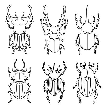 白い背景に孤立した昆虫のアウトラインイラストのセット、ベクトル