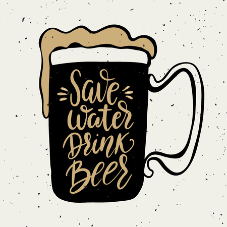 Save water drink beer. Hand drawn beer mug with lettering phrase isolated on white background. Design element for poster, card. Vector illustration Vector Illustration