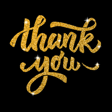 Thank you. Hand drawn lettering in golden style isolated on black background. Design elements for poster, greeting card. Vector illustration Vettoriali