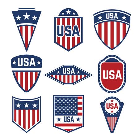 Vektorsatz der USA-Aufkleber. Embleme mit amerikanischen Flaggen. Design-Elemente für Logo, Label, Emblem, Zeichen. Vektor-illustration Standard-Bild - 85564563