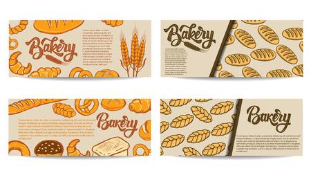 Set of bakery flyer templates. Fresh baked goods. Vector illustration