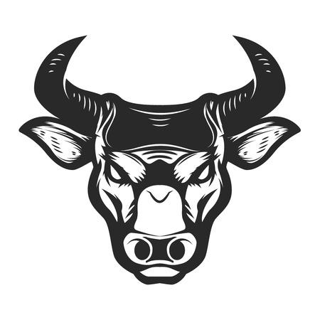 白い背景に孤立した雄牛の頭のアイコン。ポスター、t シャツ、エンブレム、サインのためのデザイン要素。ベクターイラスト  イラスト・ベクター素材