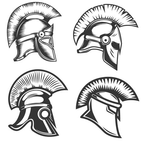 Reeks spartaanse helmenillustraties die op witte achtergrond worden geïsoleerd. Ontwerpelementen voor logo, label, embleem, teken. Vector illustratie Stock Illustratie