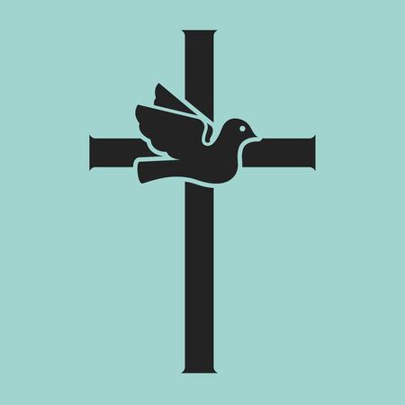 Duif met kruis. Religieus teken. Vector illustratie Vector Illustratie