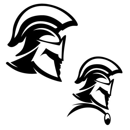 スパルタ戦士の図は、白い背景で隔離。ロゴ、ラベル、紋章、記号の要素をデザインします。ベクトル図  イラスト・ベクター素材