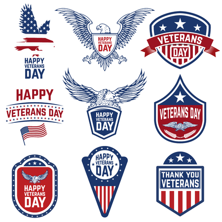 Set of veterans day emblems isolated on white background. Design elements for logo, label, emblem, sign. Vector illustration Ilustração