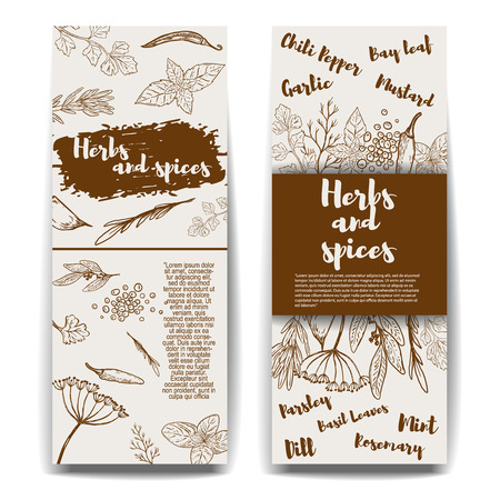Set of  banners templates with hand drawn herbs and spices. Design elements for menu, banner, flyer. Vector illustration Illustration