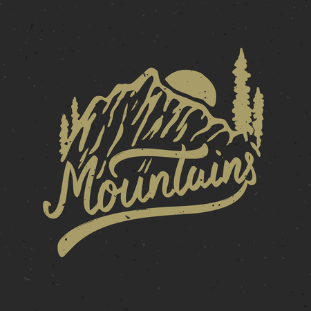 Mountains. Hand drawn illustration with mountains. Design element for poster, t-shirt. Vector illustration 向量圖像