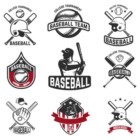 Set of baseball emblems. Baseball bats, helmets, gloves. Design elements for logo, label, sign. Vector illustration
