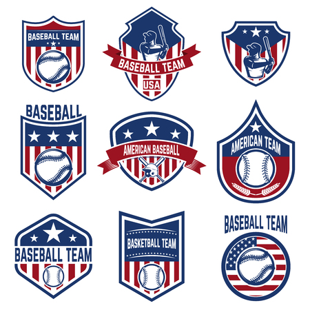Set of baseball emblems. Baseball tournament. Design elements for logo, label, emblem, sign. Vector illustration