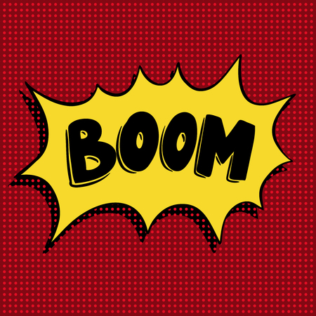 cartoon bomb: Boom. Hand drawn phrase in pop art style. Design element for poster, flyer, motion design. Vector illustration Illustration