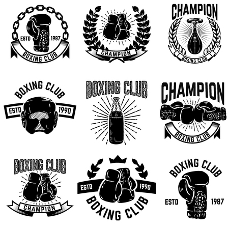 Set of boxing club emblems. boxing gloves. Design elements for logo, label, emblem, sign. Vector illustration