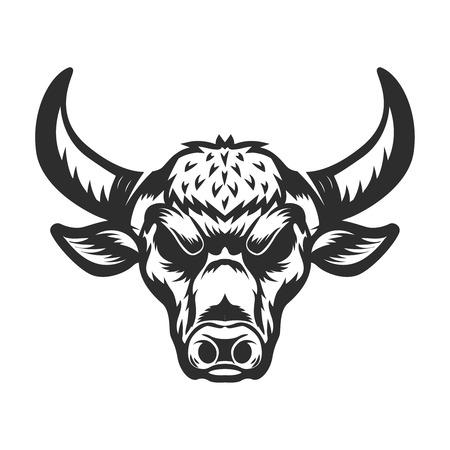 Bull head illustration on white background. Design element for emblem, sign, label, logo. Vector illustration