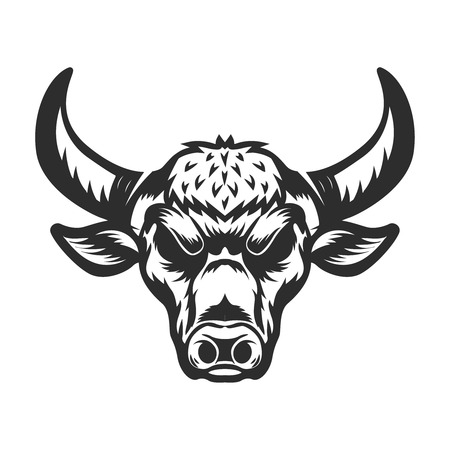 Bull head illustration on white background. Design element for emblem, sign, label, logo. Vector illustration