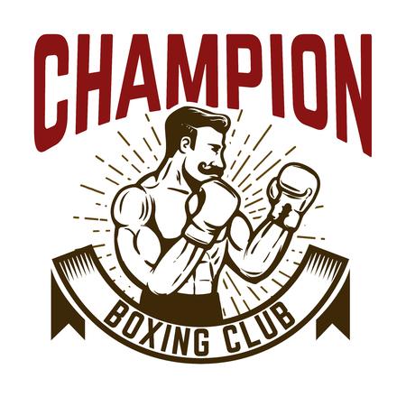 Champion boxing club. Vintage style boxer fighter. Design element for logo, label, emblem, sign. Vector illustration