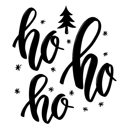 Ho ho ho. Hand drawn lettering phrase. Christmas theme. Design element for poster, banner, card, flyer. Vector illustration