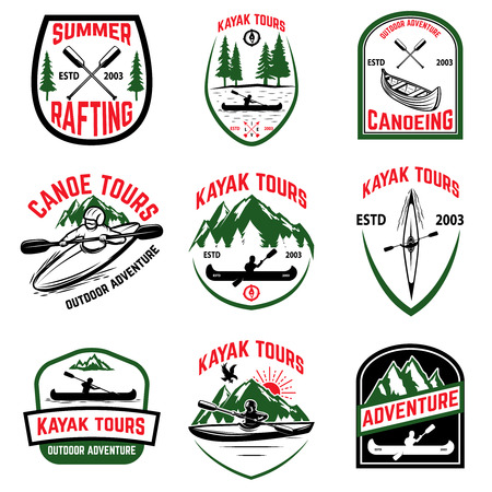 Set of kayak tours emblems. Kayaking, canoeing. Design element for emblem, sign, label, logo. Vector illustration