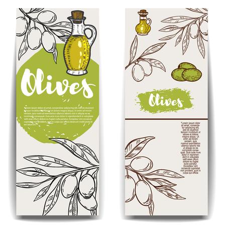 Set of olive oil flyers templates. Design element for poster, banner, card, emblem, sign, label. Vector illustration