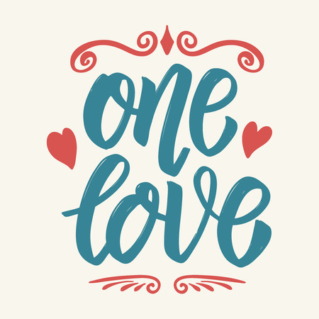 One love. Hand drawn lettering isolated on white background. Design element for poster, greeting card, banner. Vector illustration