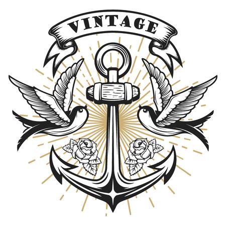オールドスクール スタイル燕図アンカーと。タトゥー スタイルのイラスト。ロゴ、ラベル、紋章、記号の要素をデザインします。ベクトル図