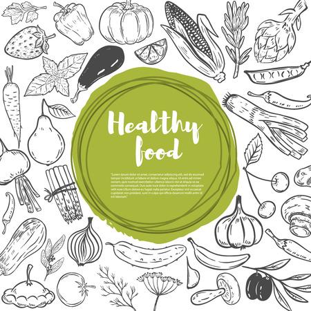 Wortelen, kool, pompoen, ui, knoflook, broccoli, peper, tomaat, komkommer. Set hand getrokken groenten. Gezonde voeding sjabloon voor spandoek.