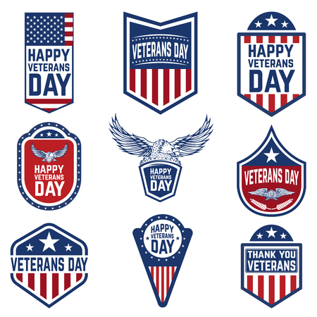 Set of veterans day emblems. USA culture. Design elements for logo, label, emblem, sign. Vector illustration