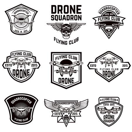 Set of emblems with drone.  Design elements for logo, label, sign. Vector illustration