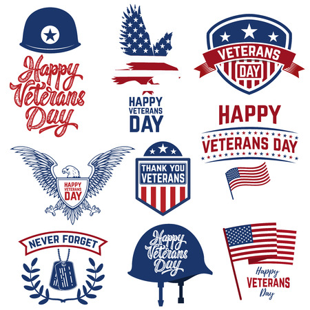 Set of Happy Veterans Day emblems. Emblems with american flags. Design element for logo, label, emblem, sign, poster, greeting card. Vector illustration Ilustrace