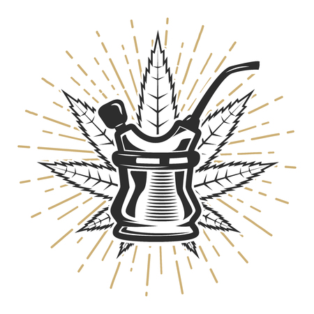 Bong with cannabis leaf on white background. Design element for poster, card, banner, emblem, sign. Vector illustration