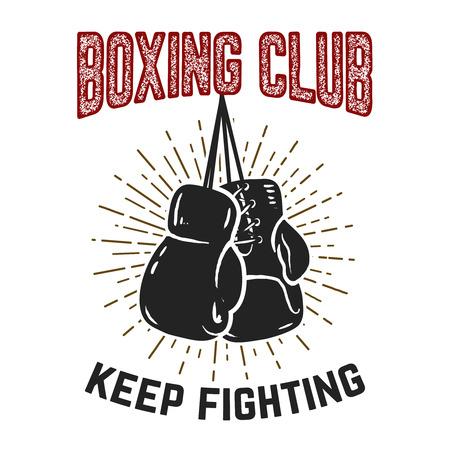 ボクシング クラブ。戦い続けます。グランジ背景にボクシング グローブ。ポスター、カード、バナー、紋章、記号のデザイン要素です。ベクトル図