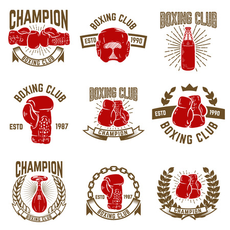 Set of boxing club emblems. boxing gloves. Design elements for logo, label, emblem, sign. Vector illustration