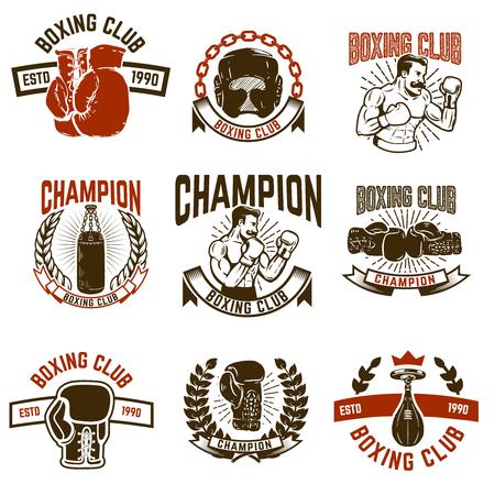 ボクシング クラブのエンブレムのセットです。ボクシング グローブ。ロゴ、ラベル、紋章、記号の要素をデザインします。ベクトル図
