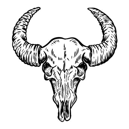 白い背景に分離されたバッファローの頭蓋骨のイラスト。ポスター、エンブレム、看板、t シャツのデザイン要素です。ベクトル図