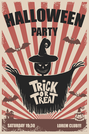Halloween party poster template. scarecrow.Trick or treat. Halloween monsters. Design element for poster, emblem, sign, t-shirt. Vector illustration