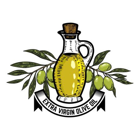 Olive oil label template. Olive branch. Design elements for logo, label, emblem, sign. Vector illustration