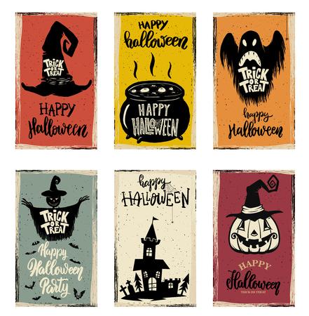 Set of halloween banner templates. Monster characters. Design elements for poster, card, banner. Vector illustration