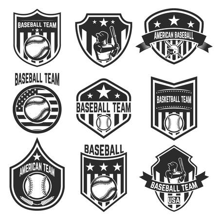Set of baseball team emblems on white background. Design element for label, emblem, sign. Stock Vector - 87326690