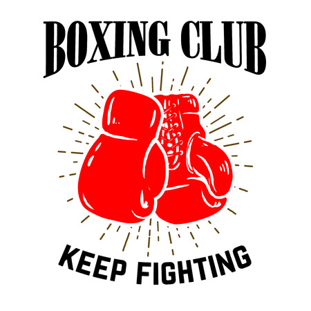 ボクシング クラブ。白い背景の上のボクシングのグローブ。ベクトル図