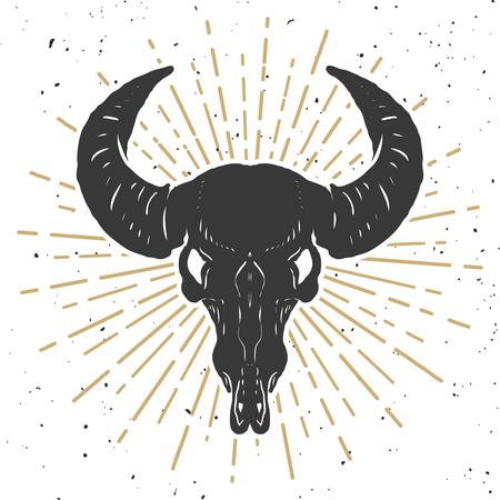 Illustration of buffalo skull isolated on white background. Design element for poster, emblem, sign, t-shirt. Vector illustration Stock Vector - 87326692