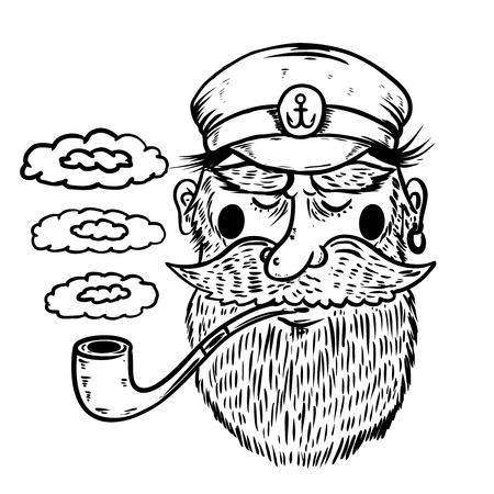 Hand drawn captain illustration. Illustration