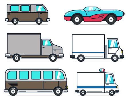 Satz Karikaturautobus- und -lastwagenillustrationen auf weißem Hintergrund. Am besten für Animation, Motion Design, Infografik. Gestaltungselement für Etikett, Emblem, Zeichen. Standard-Bild - 87326693