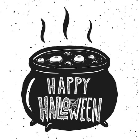 Witch kettle illustration on white background. Illustration