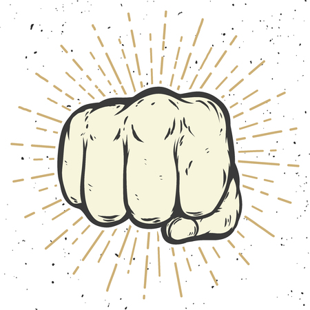 Human fist illustration on white background.