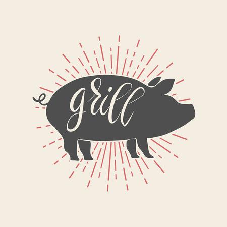 Pork illustration on white background. Illustration
