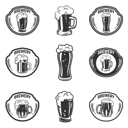 Set of emblems with beer mugs.