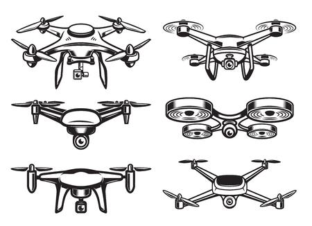 Drohne Quadrocopter Logo-Design, Emblem Standard-Bild - 87541018
