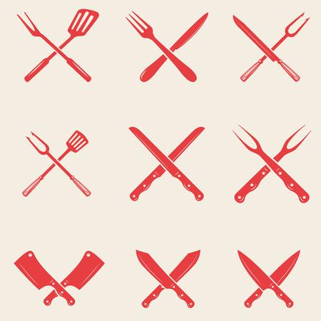 Set of restaurant knives icons. Crossed fork, kitchen spatula, butchers ax. Design elements for logo, label, emblem, sign, poster, t shirt. Vector illustration